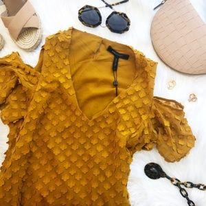 BCBG Amber Floral Texture Cold Shoulder Mini Dress